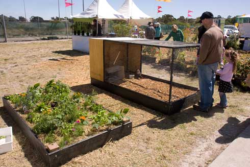 The raised garden bed and mobile chook pen combination.