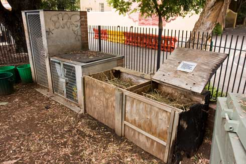 The tool storage at Woolloomooloo Community Garden, on the far left, is small but large enough for hand tools. Enclosed compost bays convert garden waste into fertiliser.